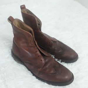Frye Boots Oxford Detail SZ 10 Lace Up Brown Mens